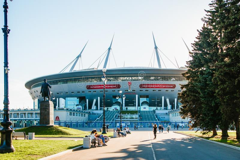 Snt. Petersburg, Russia - 18.05.2018, Gazprom Zenith arena football stadium world Cup 2018 stock photos