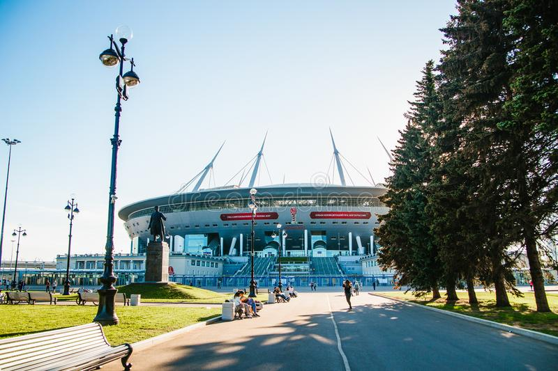 Snt. Petersburg, Russia - 18.05.2018, Gazprom Zenith arena football stadium world Cup 2018 stock photo