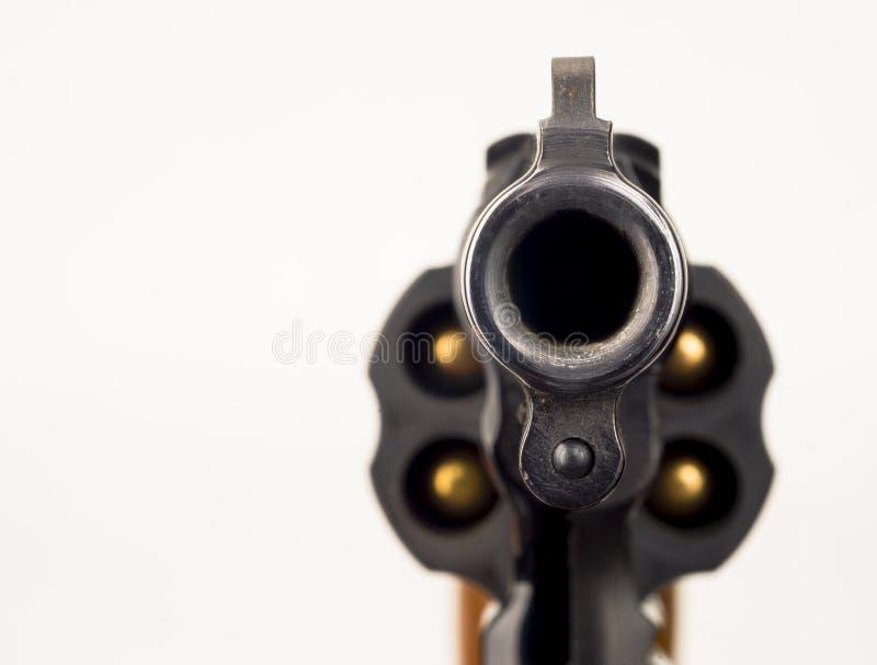 38 Snub Nose Revolver Weapon Gun som pekas på tittaren arkivbilder