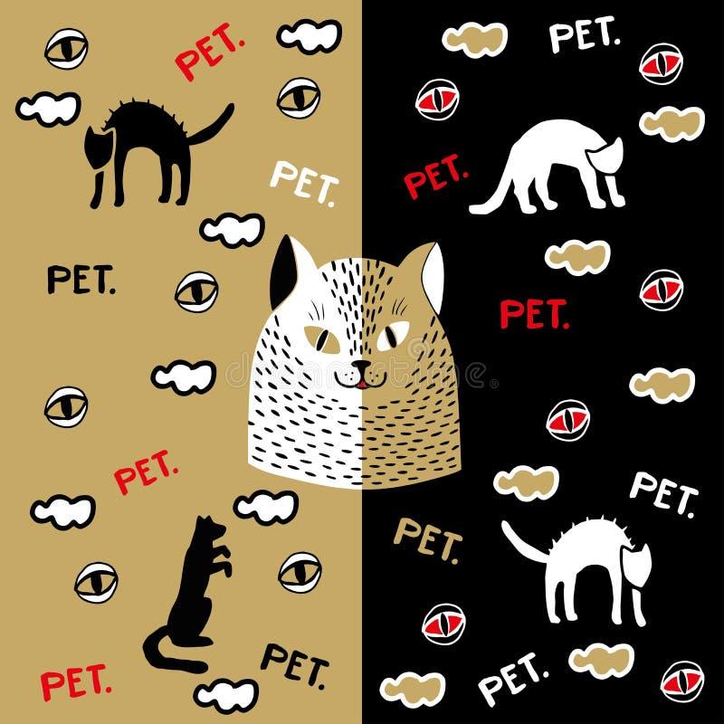 Snuit van een kat op een gouden achtergrond stock illustratie