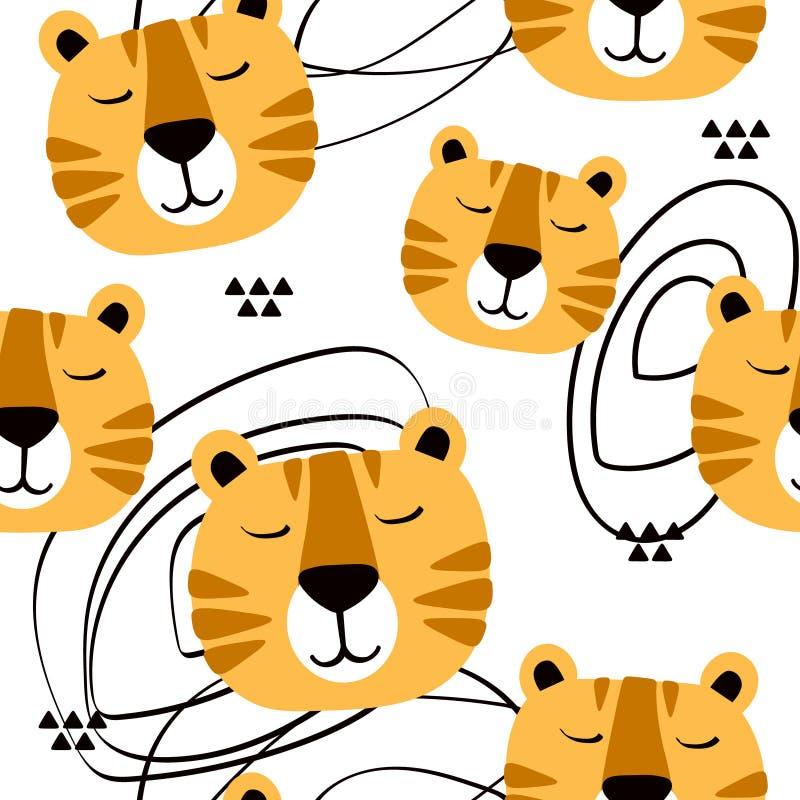 Snuit van tijgers, decoratieve leuke achtergrond Kleurrijk naadloos patroon met snuiten van dieren vector illustratie