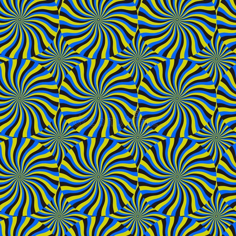 Snurrandecirkulering för optisk illusion, bakgrund för vektormodellabstrakt begrepp. royaltyfri illustrationer