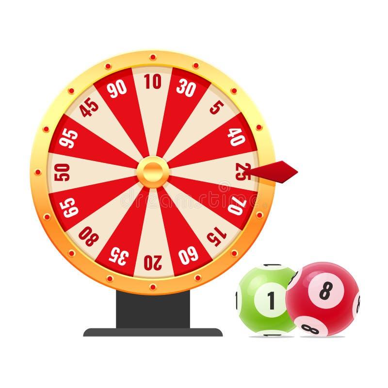 Snurrrouletthjul med nummer, med slumpmässiga kombinationer, bingo, lotto vektor illustrationer
