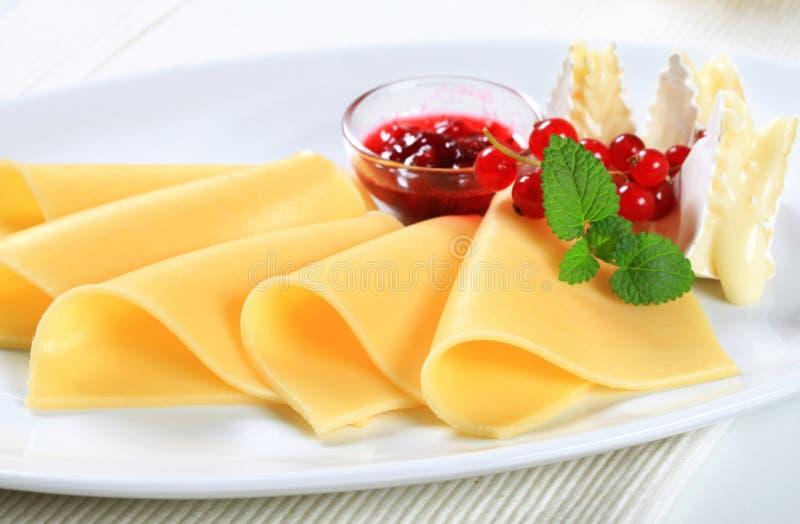Soße des Käses und der roter Johannisbeere lizenzfreie stockfotos