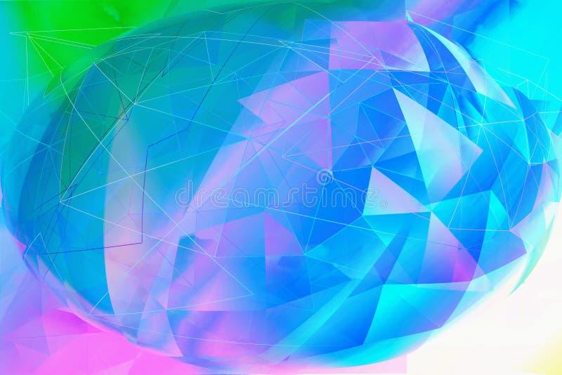 Soñador de moda, abstracto, fantasía 3d multicolora, fondo geométrico ilustración del vector