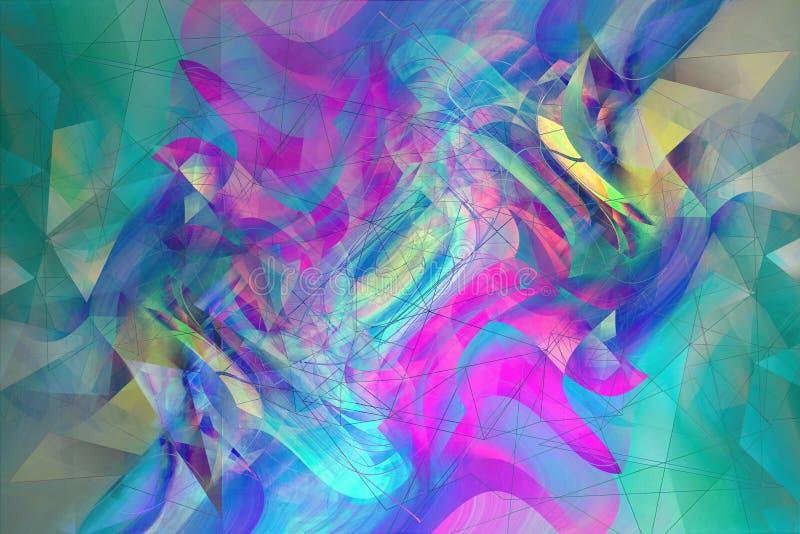 Soñador de moda, abstracto, fantasía 3d multicolora, fondo geométrico stock de ilustración