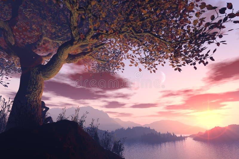 Soñador del árbol stock de ilustración