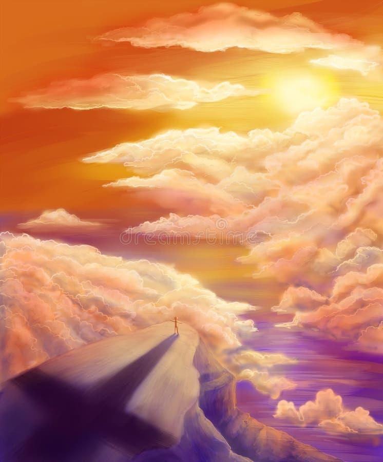 Soñador en el amanecer stock de ilustración