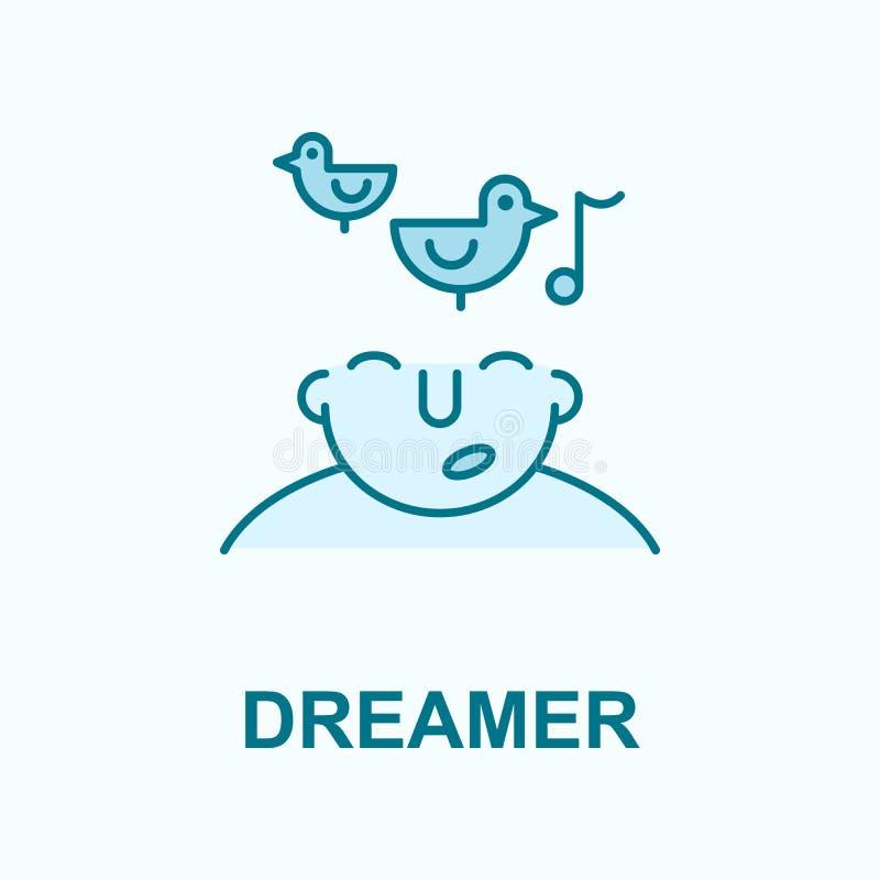 soñador en icono del esquema del campo de la mente libre illustration
