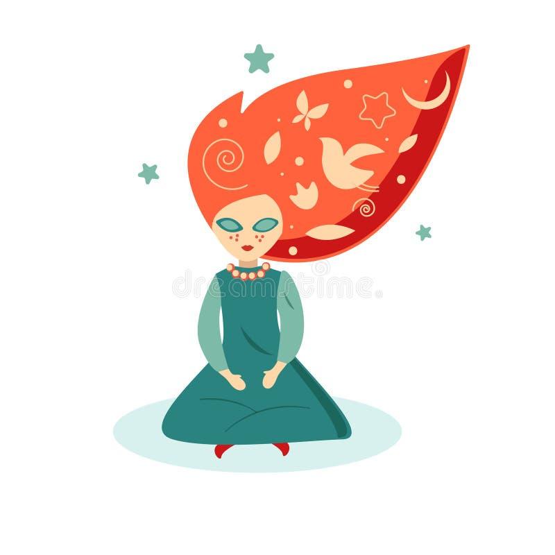 Soñador, muchacha con el pelo rojo stock de ilustración