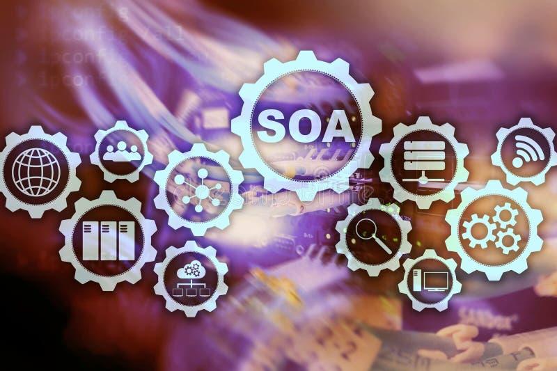 SOA 面向服务的建筑学的业务模式和信息技术概念在服务下的原则 向量例证