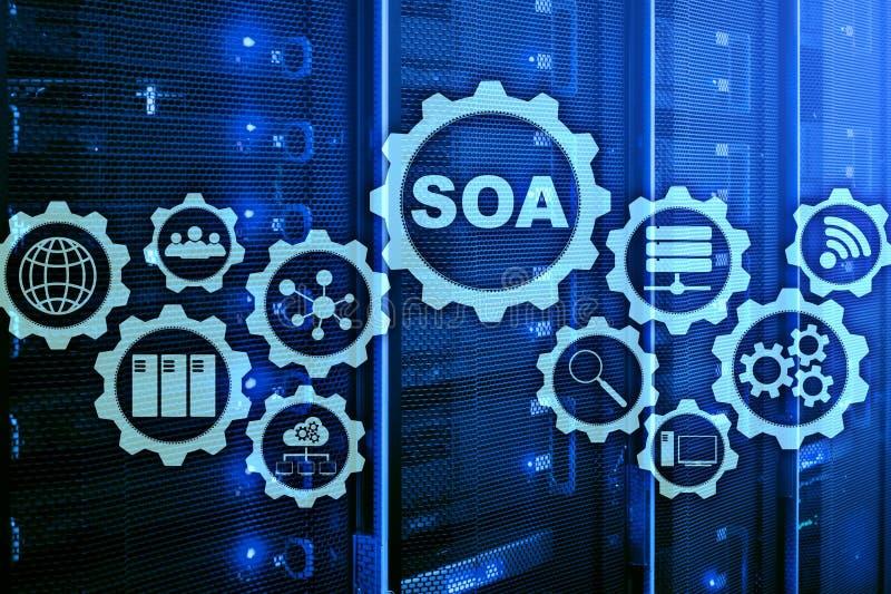SOA Model biznesu i technologie informacyjne pojęcie dla Nastawiony Na Usługi architektury pod zasadą usługa ilustracji