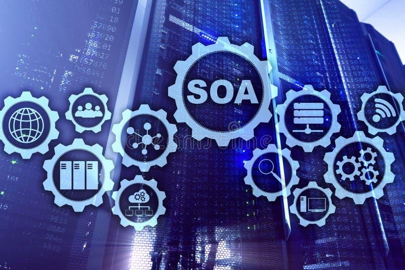SOA Modelo de negócios e conceito de tecnologia da informação para a arquitetura orientada a serviços sob o princípio do encapsul fotos de stock
