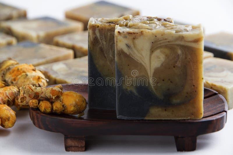 Soao naturel fait main avec arôme de gingembre en forme de gâteau image stock