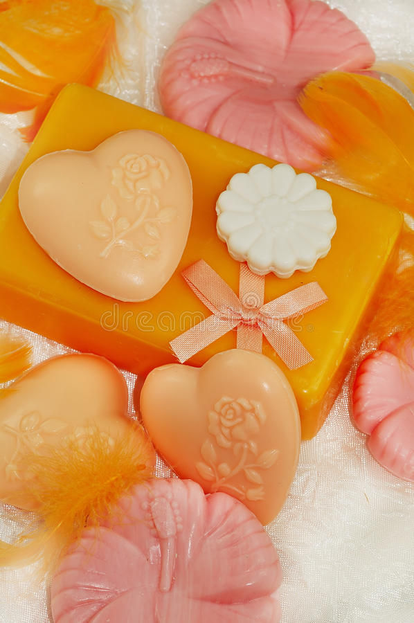 Soap. Still life of orande and pink soap stock image
