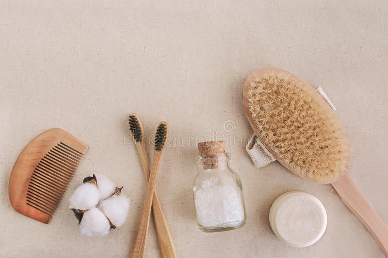 Soap, bamboo toothbrushes, natural brush, co cosmetics products and tools. Zero waste and plastic free concept stock photo