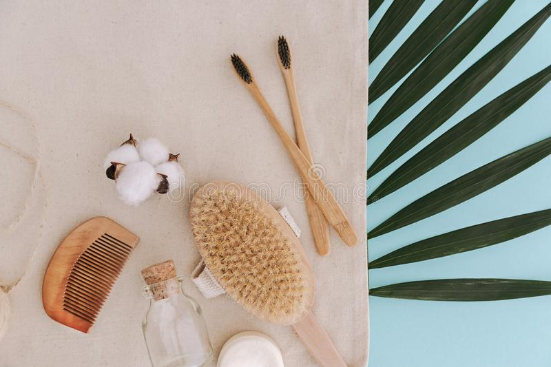 Soap, bamboo toothbrushes, natural brush, cosmetics products and tools. Zero waste and plastic free concept royalty free stock photography