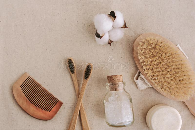 Soap, bamboo toothbrushes, natural brush, cosmetics products and tools. Zero waste and plastic free concept royalty free stock photos
