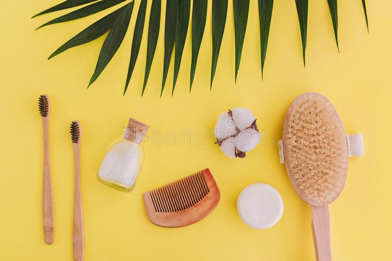 Soap, bamboo toothbrushes, natural brush, cosmetics products and tools. Zero waste and plastic free concept stock photography