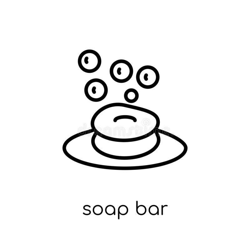 Soap bar icon from collection. Soap bar icon. Trendy modern flat linear vector soap bar icon on white background from thin line collection, outline vector royalty free illustration