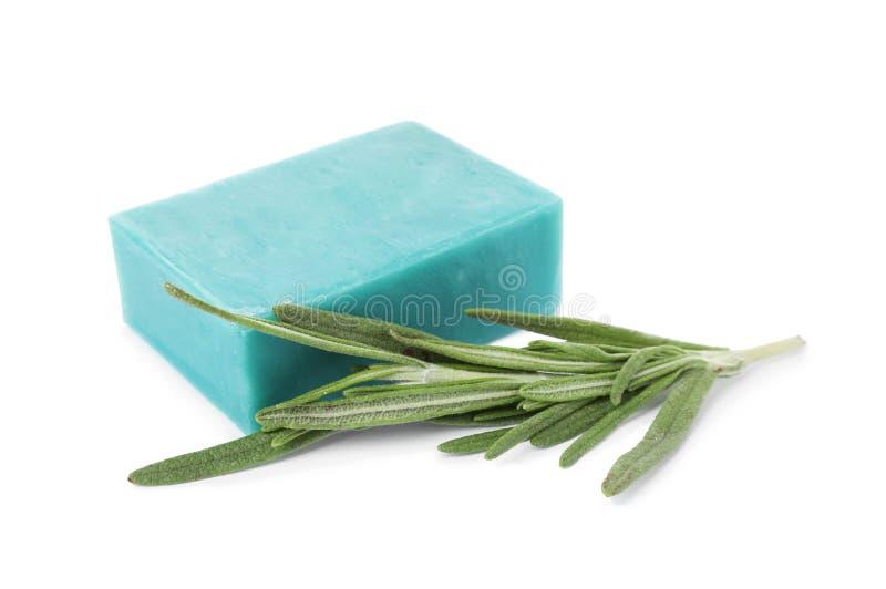 Soap bar and rosemary stock photo