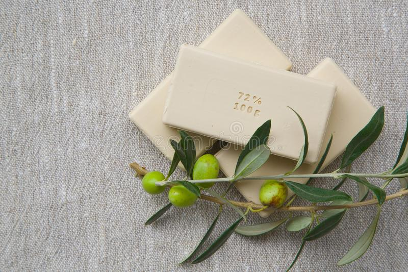 Soap bars with olive oil royalty free stock images