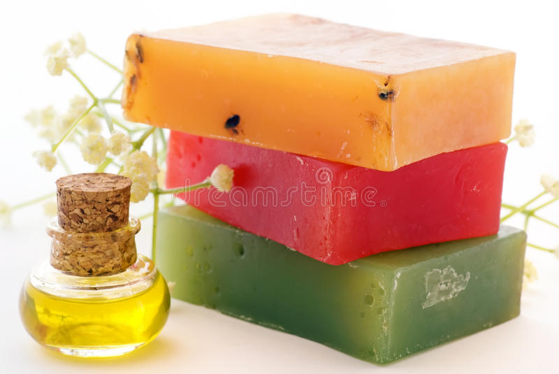 Soap with bath oil royalty free stock photos