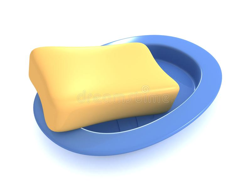 Soap with blue soap dish vector illustration