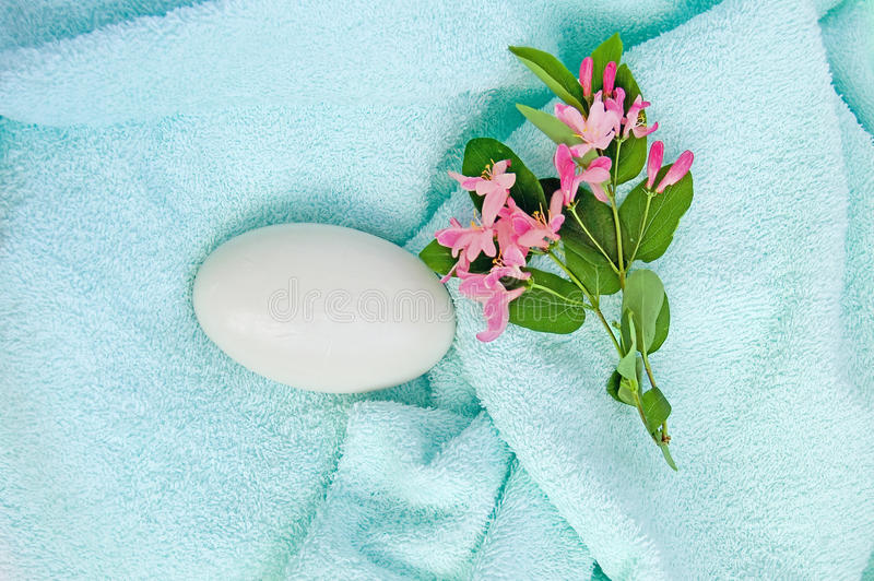 Download Soap on a blue towel stock photo. Image of nobody, white - 14851942