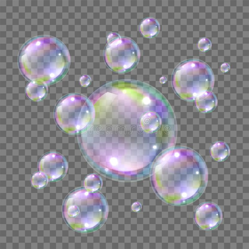 Soap bright flying colorful bubbles realistic style. Soapy water ball floating in air when washing and cleaning. Vector illustration royalty free illustration