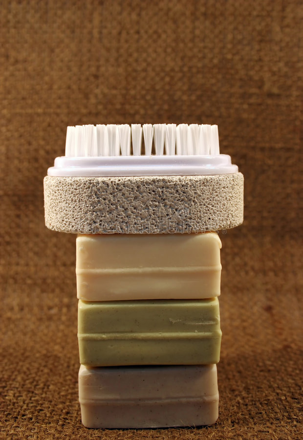 Soap and brush royalty free stock photos