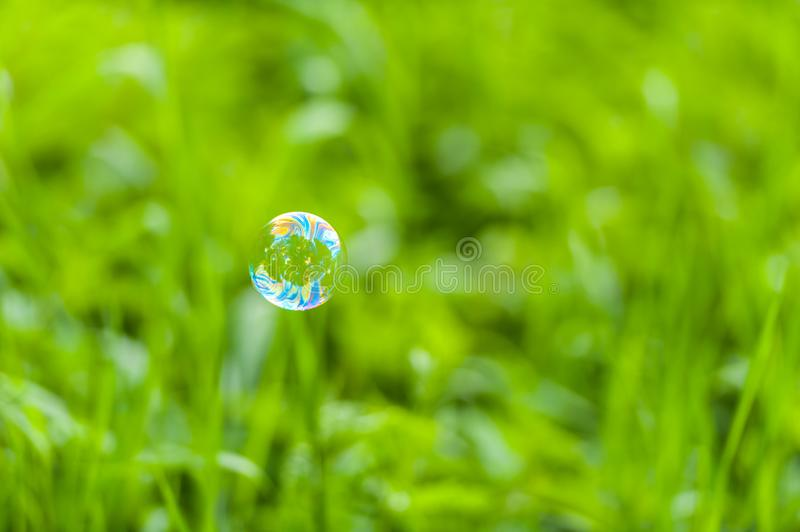 Soap bubble in front of green background royalty free stock photography