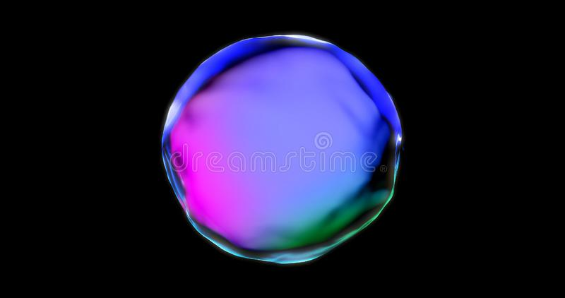 Soap bubble with iridescent chromatic surface transparent isolated on black background. Pink and blue color gradient water drop royalty free stock photography