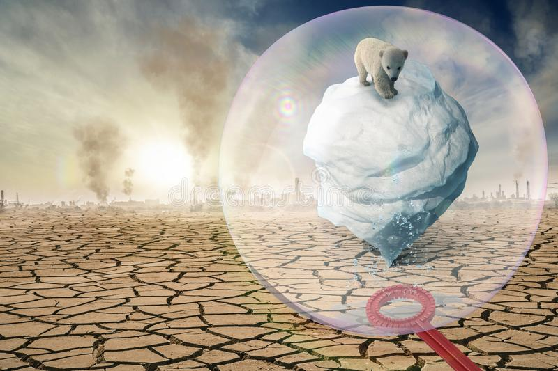 A soap bubble protects the Antarctic from climate change -3D-Illustration royalty free stock photos