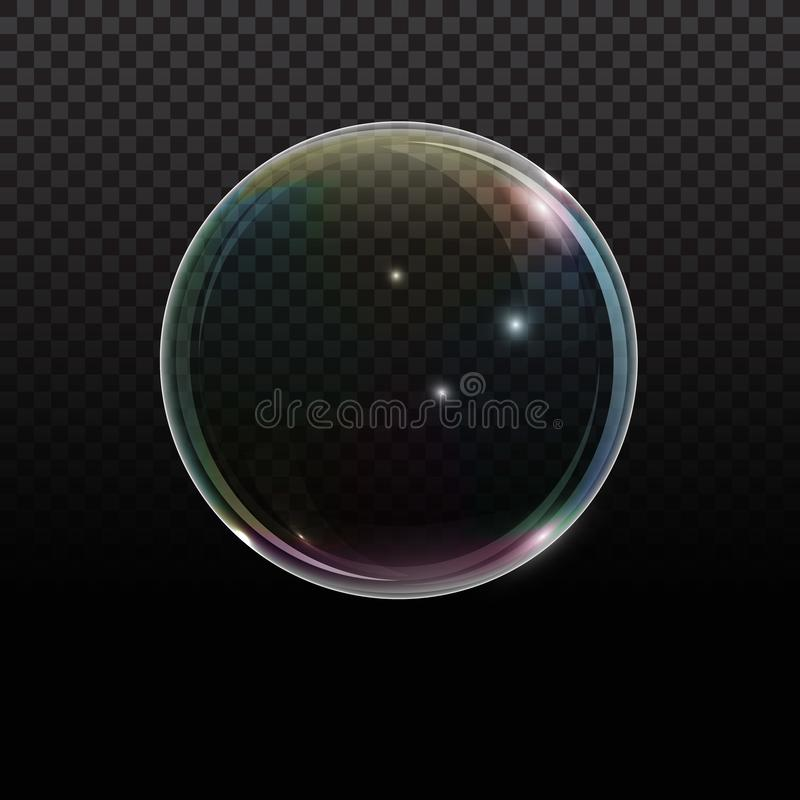 Soap bubble with rainbow reflection on transparent background. Transparent foam bubble, great design for any purposes. vector illustration