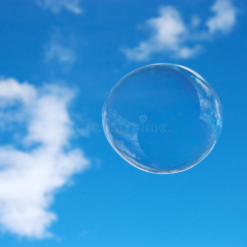 Soap bubble in the sky stock image. Image of reflection ...