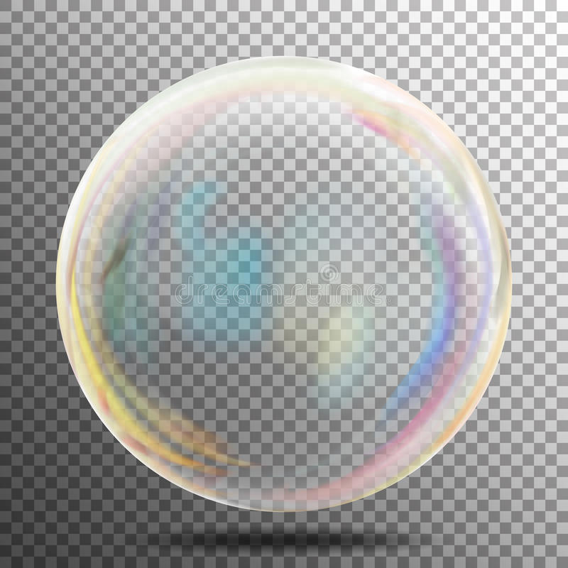 Soap Bubble. Transparent Realistic Bubble With Rainbow Reflection. Ready To Apply To Your Design. See Through Element. Vector Illu royalty free illustration