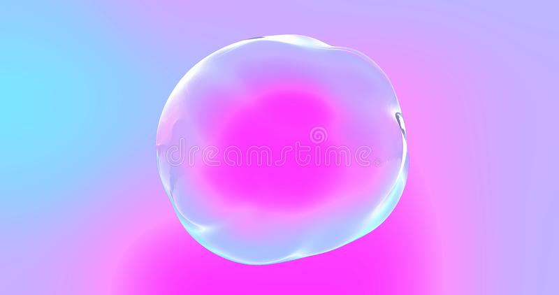 Soap bubble with transparent surface on iridescent color gradient background. Abstract chromatic distorted shape sphere or water royalty free stock images