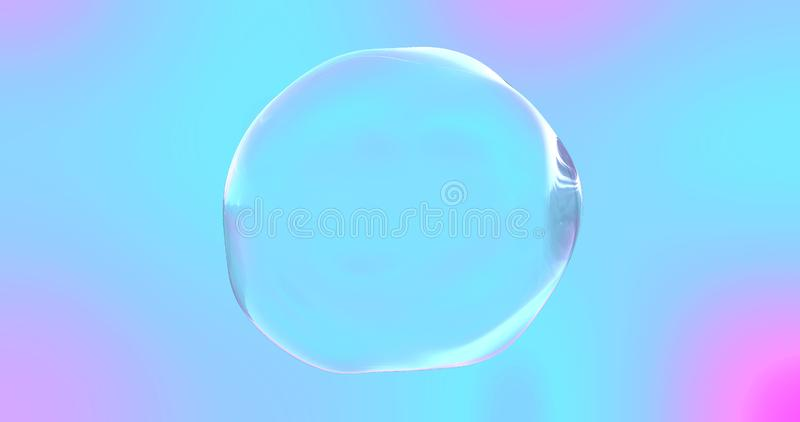 Soap bubble with transparent surface on iridescent pink and blue color gradient background. Abstract chromatic distorted shape stock image