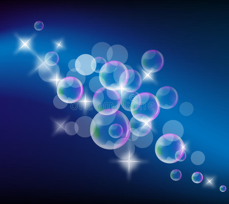 Soap bubbles. Abstract background with Soap bubbles and stars stock illustration