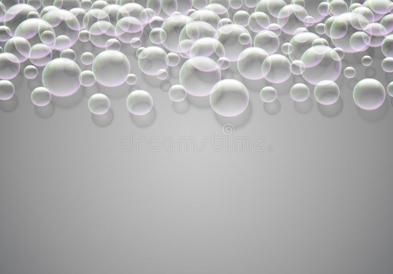 Soap bubbles abstract background with rainbow colored airy foam. Soap bubbles background with rainbow colored airy foam stock illustration