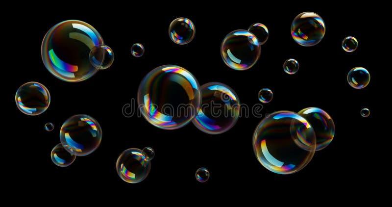Soap bubbles against a black backdrop - 3D illustration royalty free illustration