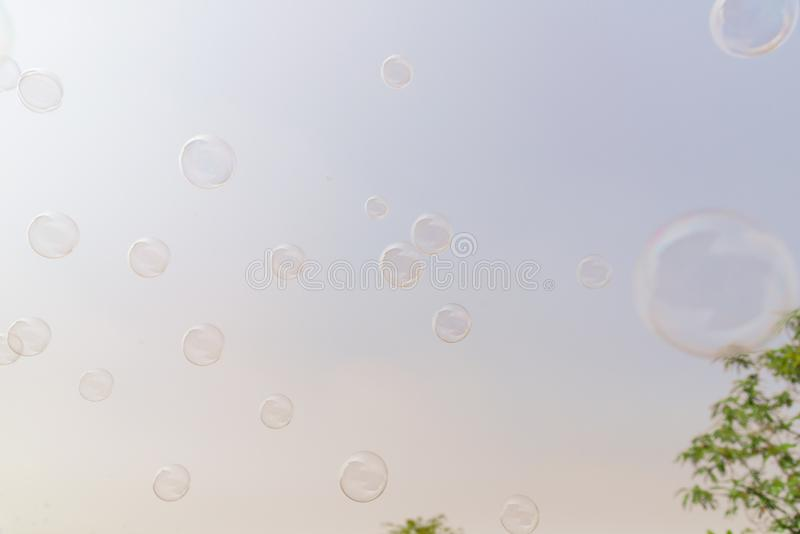Soap bubbles in the air with cloud and blue sky on background. Outdoor activity funny and party stock photography