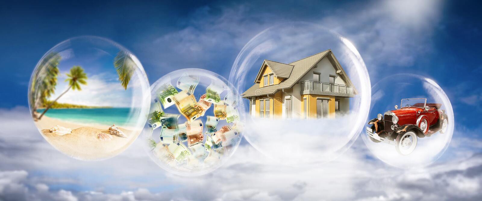 Dream of wealth, home, car and luxury travel. Soap bubbles with beach scene, banknotes, house and car royalty free stock photo