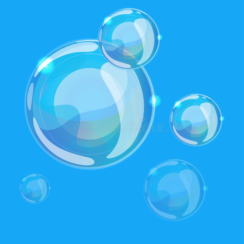 Soap bubbles on a blu background. Can be used as a seamless pattern or background. Vector illustration vector illustration