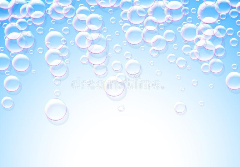 Soap bubbles abstract blue background with rainbow colored airy. Soap bubbles blue background with rainbow colored airy foam royalty free illustration
