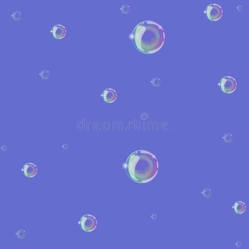 Soap bubbles on a blue background seamless pattern. Vector graphics stock illustration