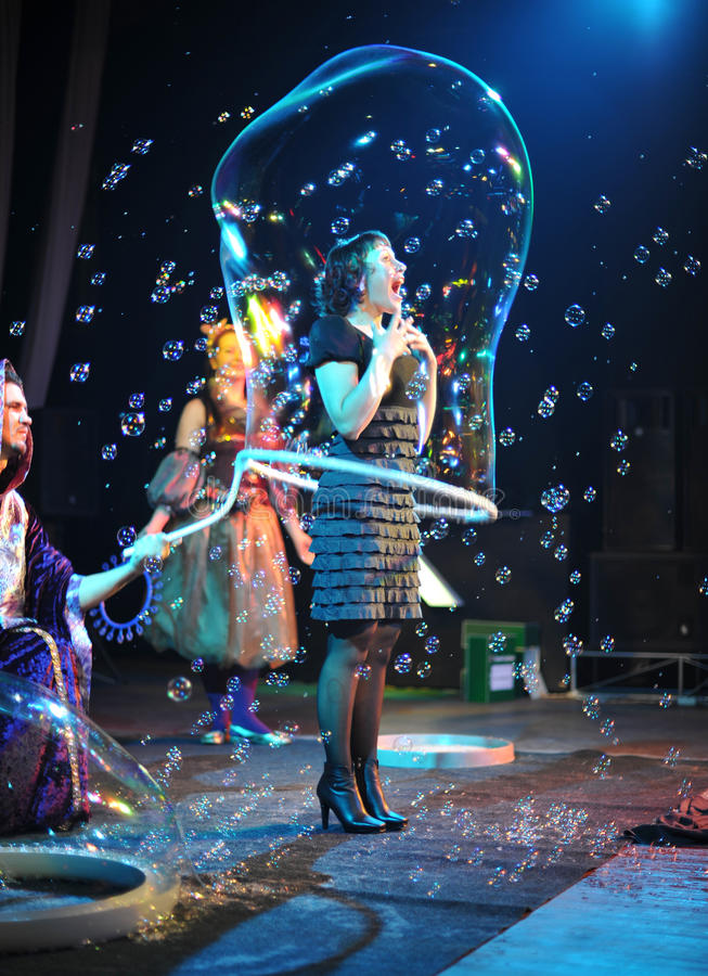 Soap bubbles frestival at Vladivostok stock images