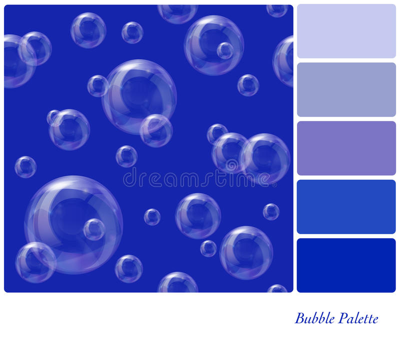 Soap bubbles palette. A seamless background of soap bubbles floating in the air, in a colour palette with complimentary colour swatches. Background pattern is in stock illustration