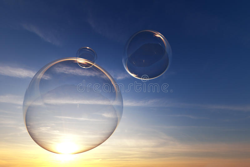Soap bubbles in the sky with sunset stock illustration